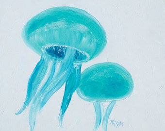 JELLYFISH painting, Bathroom wall decor, coastal decor, beach cottage decor, ocean beach decor, coastal wall art, coastal cottage decor