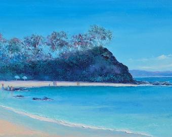 Australian beach painting, Sunshine Bay, New South Wales beach, canvas art, coastal decor, Etsy Art, Jan Matson