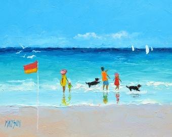 Beach Decor, Beach painting, miniature art, Beach artwork, beach house art, 5 x 7 painting, whimsical beach art, coastal decor, Etsy art