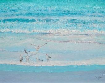 Ocean Painting, seagulls, FRAMED Beach decor, beach art, seascape, coastal decor, beach house decor, Etsy Art, Jan Matson