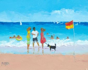 Beach painting, Beach Art, FRAMED beach decor, beach artwork, miniature art, beach house art, ocean painting, coastal art, jan matson