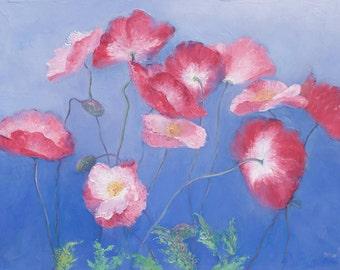 Poppy painting, canvas art, poppies art, flower paintings, impressionist art, pink flowers, floral wall art, Etsy art, Jan Matson