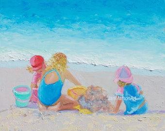 Beach scene, beach painting, beach art, kids room art, beach decor, miniature art, coastal decor beach, beach artwork, Etsy art