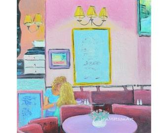 PARIS wall art, framed miniature art, Paris painting, cafe painting, kitchen painting, by Jan Matson