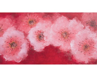 CHERRY BLOSSOM painting, flower painting, pink blossom, Impressionist art, shabby chic painting, floral art, Etsy art, Jan Matson