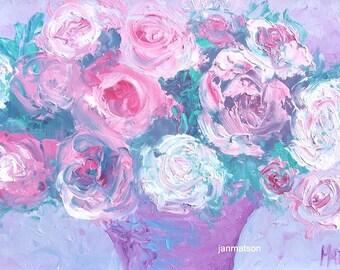 Rose Painting, FRAMED ART, pink roses, shabby chic decor, impressionist art, floral wall art, designer decor, Etsy Art, Jan Matson