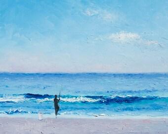 Fathers Day gift, Beach Painting, fishing painting, ocean painting, beach art, seascape, beach decor, fishing art,beach house art,Jan Matson