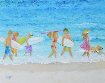 Beach Painting, Surfers, FRAMED Beach Decor, Tropical decor, ocean seascape painting, beach art with people, coastal decor, Jan Matson