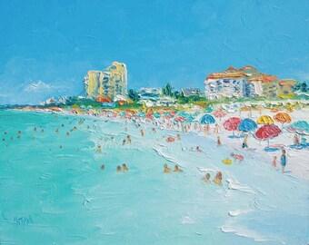 Clearwater Beach Florida, Beach decor, beach art, Beach Painting, ocean painting, seascape, coastal decor, beach house art, Etsy Art