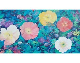POPPIES painting, canvas art, flower paintings, poppy art, Impressionist art, flower oil painting, interior design, Etsy Art, by Jan Matson