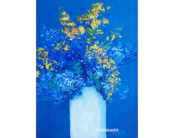 Flower painting, still life painting, blue hydrangeas painting, miniature art, 5 x 7 art, impressionist art, Etsy Art, Jan Matson