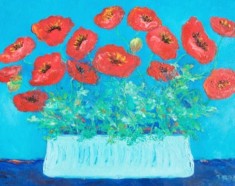 POPPY painting, Flower Paintings, canvas art, red poppies, poppy art, impressionist art, still life, living room art, Etsy Art, Jan Matson