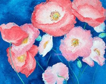 Poppies Painting, canvas art, flower painting, pink flowers, california poppies, living room art, Etsy Art, Jan Matson