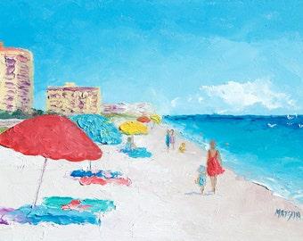 Daytona Beach, FRAMED, Florida beach art, beach decor, miniature art, beach painting, United States beaches, coastal decor, Jan Matson