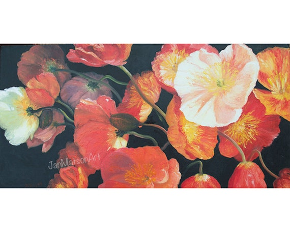 Poppy Painting Poppies Canvas Art Flower Paintings Poppy Etsy