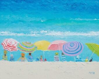 Beach painting, FRAMED beach art, beach umbrellas, seascape, ocean painting, coastal decor, beach artwork, beach house decor, Etsy Art