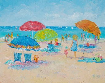 Beach Painting, oil painting, FRAMED beach art, beach decor, coastal decor, tropical decor, beach umbrellas, people, Jan Matson