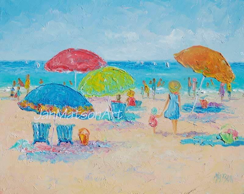 Strand-Malerei Ölgemälde gerahmt Strand Kunst Strand Dekor | Etsy