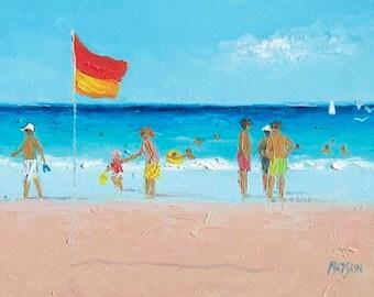 Beach painting, Beach decor, FRAMED beach art, miniature art, ocean painting, beach house art, seascape, 5 x 7, Jan Matson