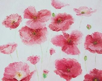 Poppy Painting, canvas art, POPPIES, poppy art, flower paintings, pink flowers, living room art, designer decor,wall art,Etsy Art,Jan Matson