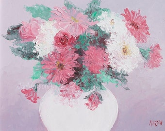 Chrysanthemums painting, Mothers Day Gift, FRAMED ART, Flower paintings, shabby chic art, still life, wall art, Etsy Art, Jan Matson
