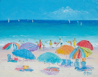 Beach painting, beach decor, oil painting, tropical decor, ocean painting, coastal decor, bathroom art, beach umbrellas, seascape,Jan Matson