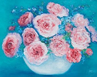 ROSE painting, Canvas Art, Flower Painting, Rose Art, Still Life, Etsy Impressionist Art, living room art, designer decor, pink roses