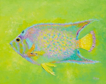 Fish painting, canvas art, aquarium fish, beach house decor, Tropical art, coastal decor, Etsy Art, bathroom decor, Jan Matson
