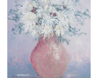 Chrysanthemums painting, flower painting, shabby chic painting, white flowers, still life, living room art, floral wall art, Jan Matson