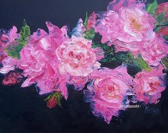 ROSE painting, pink roses, FRAMED original oil roses painting, pink flowers painting, impressionist art, fine art, Etsy art,Jan Matson