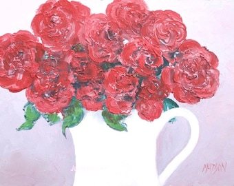 Rose painting, Red roses, still life, miniature art, rose art, flower painting, floral, impressionist art, 5 x 7 painting, Etsy art