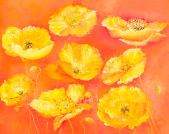 Poppy Painting, Canvas Art, poppies, Impressionist art, flower painting, yellow poppies, California poppies, living room art, Etsy Art