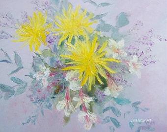Flower oil Painting, floral art, Dahlias Yellow Flowers, Peruvian Lilies, still life, living room art, floral arrangement, Etsy Art