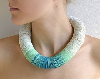 Necklace OMBRA turquoise made of book pages and papers