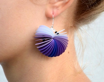 ombré violet: Dangle Earrings CARTA - made of cardstock