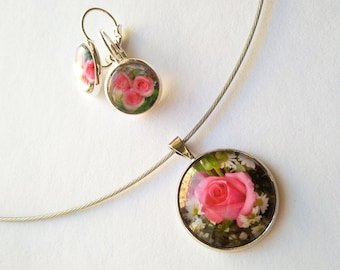 Rose Flower Necklace and Earrings Jewellery Set, 18 inch Necklace for Women, Rose Pendant with Matching Earrings, Pink Flower Image Jewelry