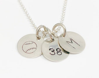 Softball Stamped Charm with Number or Initial Necklace, Softball Necklace, Softball Senior Gift, Softball Gift