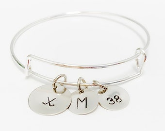 Field Hockey Bracelet, Hand Stamped Field Hockey Bracelet, Field Hockey Bracelet with Number and Initial, Field Hockey Gift