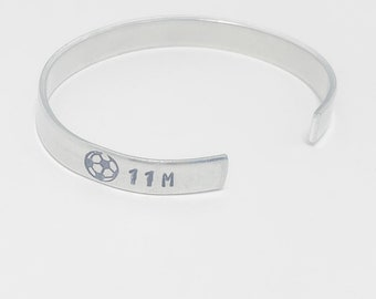 Soccer Cuff Bracelet, Hand Stamped Soccer Bracelet with Number and Letter, Soccer Senior Gift, Soccer Coach Gift, Football Cuff Bracelet