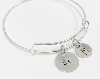 5k Running Bracelet, Hand Stamped 5k Running Bracelet, Running Gift, 5k Running Bracelet with Initial, 5k Bracelet
