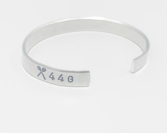 Lacrosse Cuff Bracelet, Hand Stamped Lacrosse Bracelet with Number and Letter, Lacrosse Senior Gift, Lacrosse Coach Gift, Lax bracelet