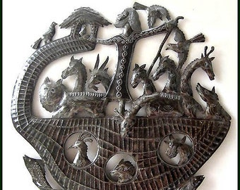 "Christian Metal Art, Noah's Ark, Metal Art Wall Hanging, Bible Art, 24"" Haitian Art, Steel Drum, Wall Decor, Handcrafted Metal Art - 554-24"