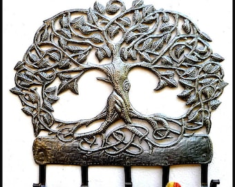 Metal Towel Hook, Metal Art, Metal Tree, Metal Wall Hook, Metal Wall Hanging, Metal Hook, Haitian Art, Steel Drum, Metal Wall Decor, 345-HK