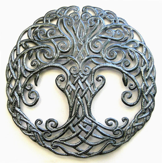 Metal Tree Irish Art Celtic Knot Metal Wall Art Celtic Etsy
