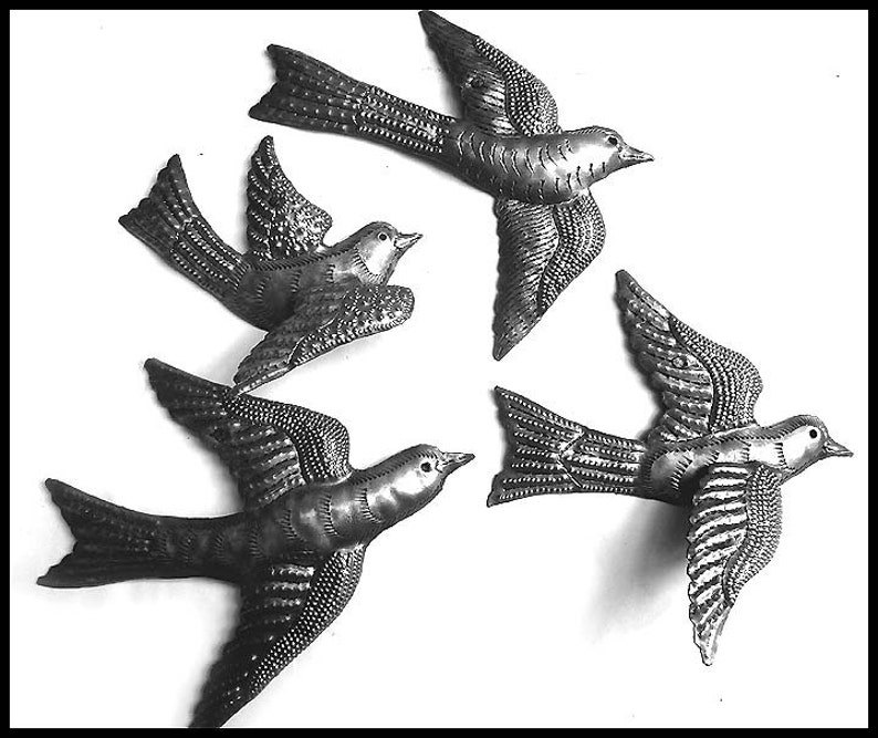 Set of 5/Birds Flying Haitian Recycled Metal Drum Wall Decoration Art Crafts Art For Sale