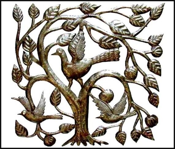 Metal Wall Hanging Haitian Metal Art Birds in Tree Outdoor | Etsy