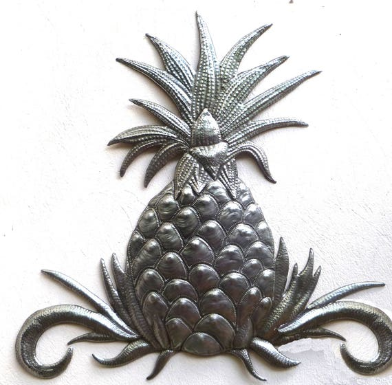 Metal Wall Decor Pineapple Wall Art Haitian Art Metal Wall | Etsy