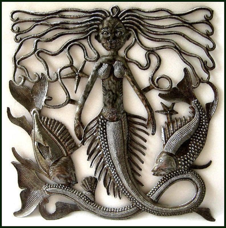 Metal Mermaid Fish Metal Wall Art Mermaid Wall Decor Metal Art Wall Hanging Haitian Metal Art Outdoor Garden Art Out462