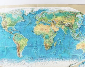 1970 World Map, Rand McNally World Portrait Map, Vintage - D