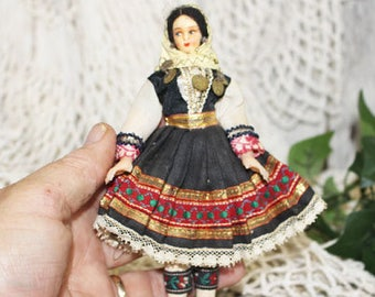 Vintage Greek? Doll, Small, Stockinette Painted Face, 1920-1930